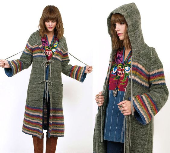 70's HOODED Mohair Striped BELL Sleeves Long Hippie Cardigan Sweater Duster S