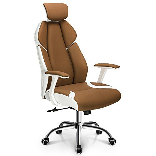 Ergonomic Office Chair Gaming Chair High Back Fabric Desk Computer Task Home Chair Headrest Spring Seat White Executive Chair Cheap Office Chairs Office Chair