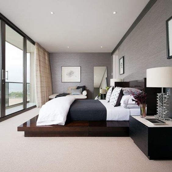 modern bedroom design with view