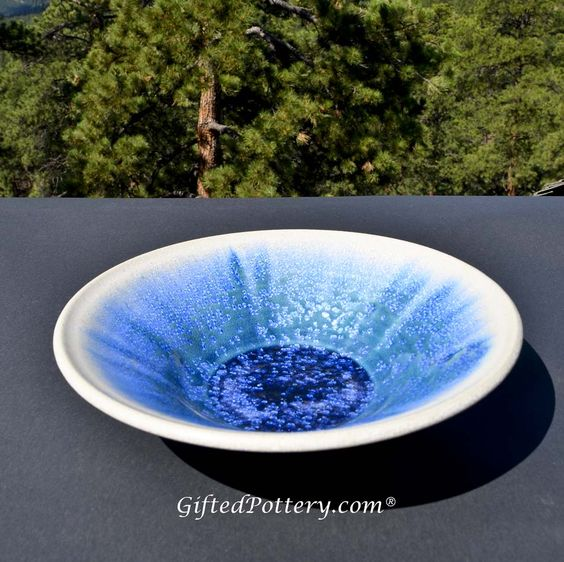 """Handmade Micro Crystalline Bowl 9.5"""", Blue / White 