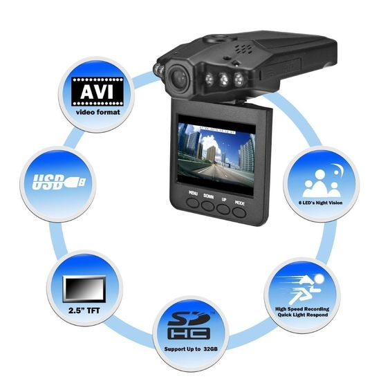 1280P HD 2.5  LCD Night Vision CCTV In Car DVR Accident Video Proof Recorder