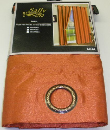 one mira faux silk grommet top curtain panel 58 inches wide x 84 inches long orange by sally. Black Bedroom Furniture Sets. Home Design Ideas