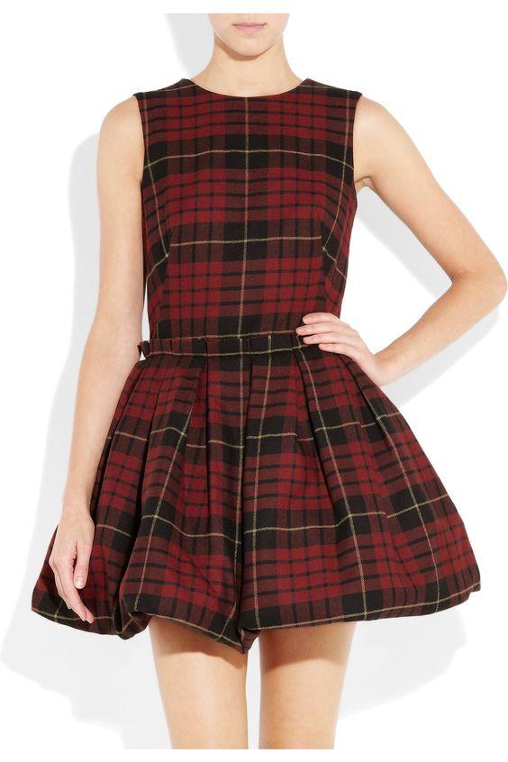 Tartan wool puffball mini dress