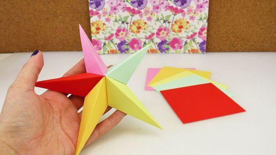 Origami Stern aus 5 Elementen | 3D Stern falten | Weihnachtsdeko selber ...