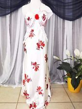 M.Vtg. Hollywood glam,White red beaded,vintage dressing gown,nightgown,lingerie