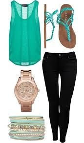Super cute teal top, black jeans, sandals, and a gold watch