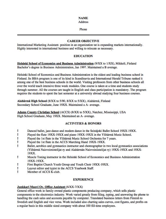 Sample Resume International Marketing Assistant -   - christian school administrator sample resume