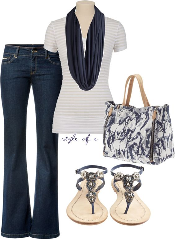 White and Navy, created by styleofe on Polyvore