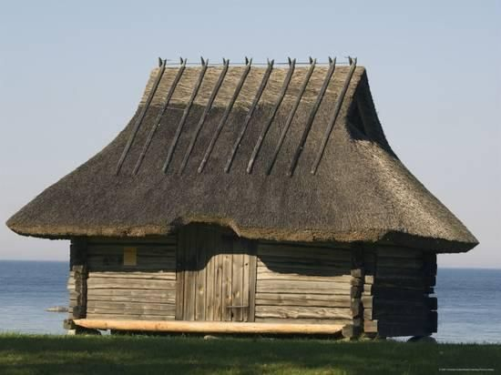 Traditional Thatched Roof Farmhouse National Open Air Museum Rocca Al Mar Tallinn Estonia Photographic Print Christian Kober Allposters Com Thatched Roof Vernacular Architecture Architecture