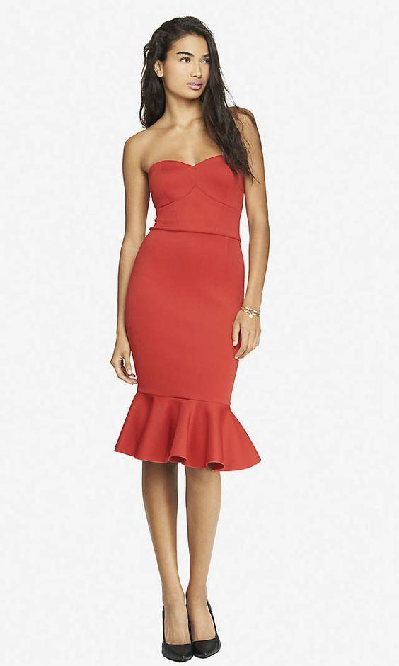 STRAPLESS SCUBA FLOUNCE DRESS - RED - Express - Closet of My ...