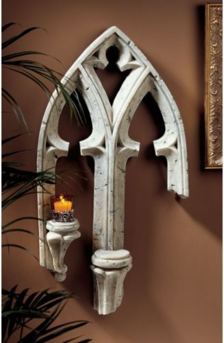 Gothic arched window fragment double ledge candle holder for Window arch wall decor
