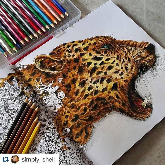 WEBSTA @ florestaencantada2 - Uau 😱 A onça da @simply_shell está ficando incrível!! 👏🏻 Livro Animorphia 💛