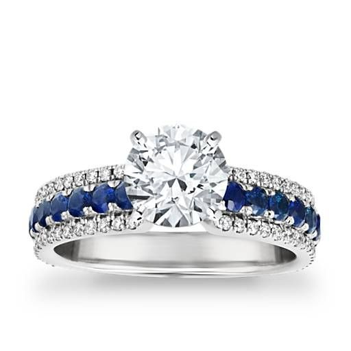 Three Row Sapphire And Diamond Engagement Ring In 14k White Gold