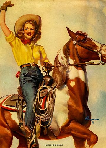 Back in the Saddle (Close Pals) - Gil Elvgren 1946.    / I absolutely love this picture, awesome EL.