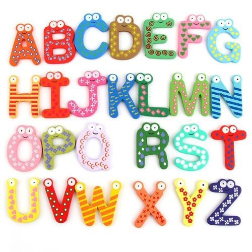 Wood Cute Fridge Magnet Alphabet Number Early Educational Kids Baby Toy Gifts