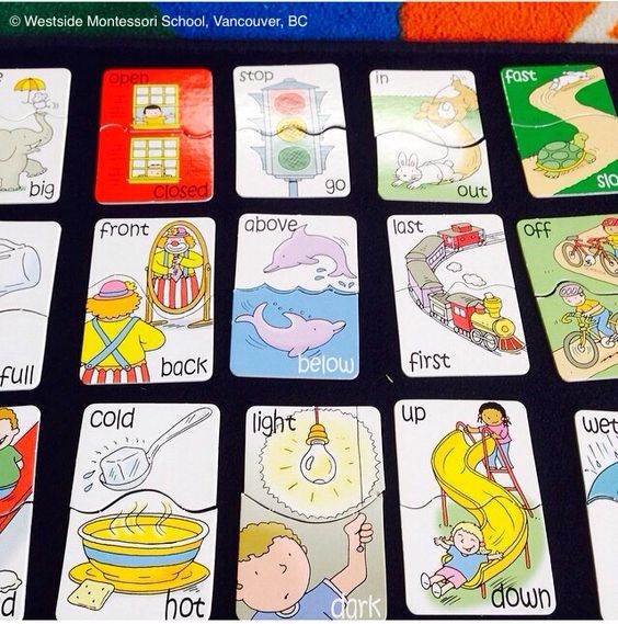 Antonyms! Puzzle cards for opposites. Great preliminary Montessori ...