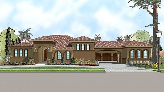 Plan 62553dj Mediterranean Influenced House Plan With Secluded Master Suite Mediterranean Homes Exterior Mediterranean Homes Mediterranean House Plans