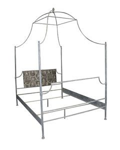 Antique Style Grey Metal King size Four Poster Bed Beautiful Shaped Canopy. SALE