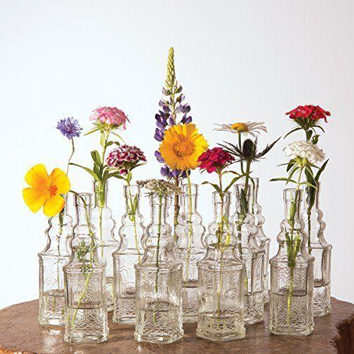 Luna Bazaar Small Vintage Glass Bottle Set 6 5 Inch Ella Square Design Clear Set Of 12 Flower Bud Vas Diy Wedding Vases Hanging Glass Vase Wedding Vases