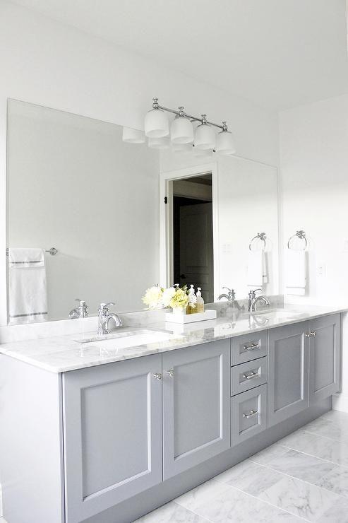 Bianco Carrara Floor Tiles, Vanity in Benjamin Moore Pigeon Gray, Bianco ...