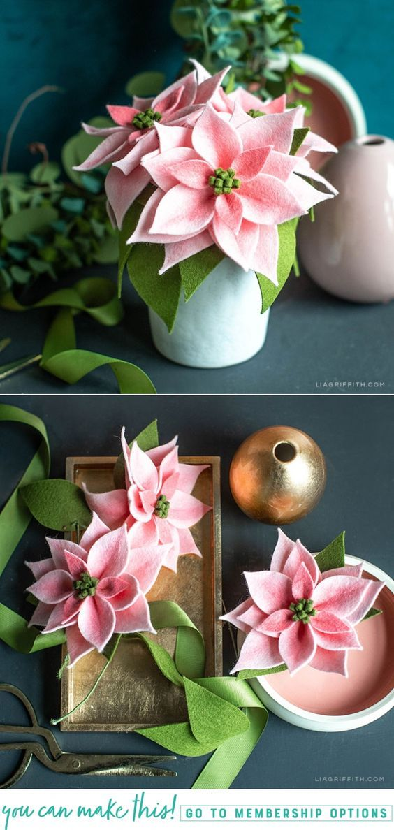 How To Make Pink Felt Poinsettia Plants Felt Crafts Diy Felt