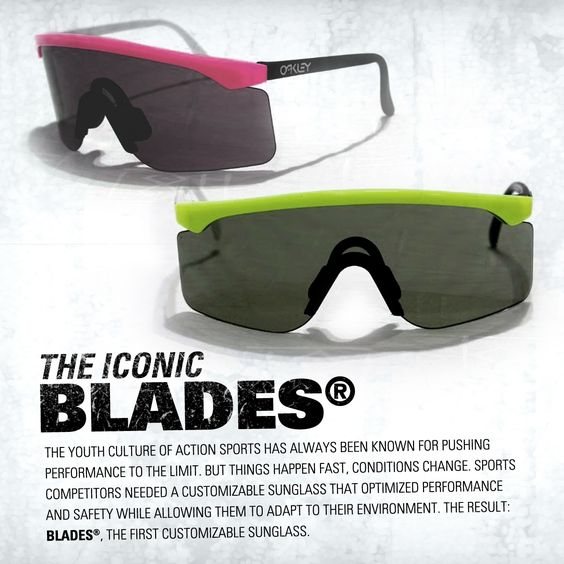oakley sunglasses 1990s  the iconic oakley blades: the first customizable sunglass