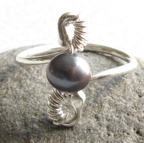 #Metal_Artistry on Artfire                          #ring                     #Handmade #Sterling #Silver #Gray #Pearl #Wire #Wrapped #Ring #Size           Handmade Sterling Silver and Gray Pearl Wire Wrapped Ring Size 8.5                                      http://www.seapai.com/product.aspx?PID=1289332