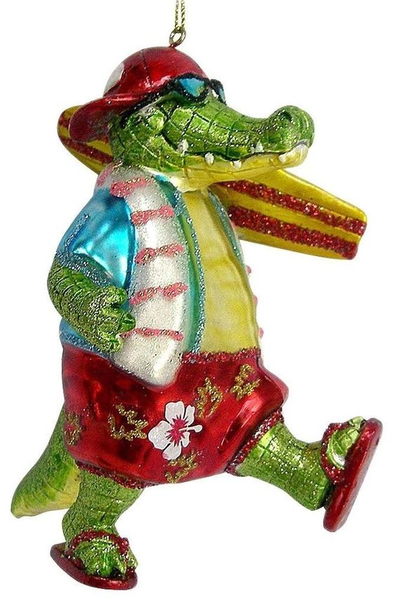 NWT! CHRISTOPHER RADKO STYLE ALLIGATOR BEACH HAWAIIAN COOL SURFER ORNAMENT DECOR