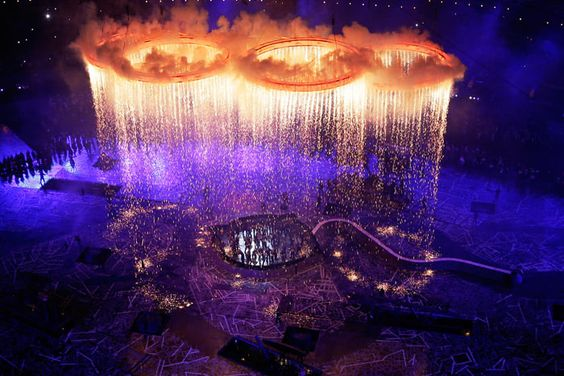 Olympics 2012: integration of pyrotechnics, LED, lighting, automation, and a live performance