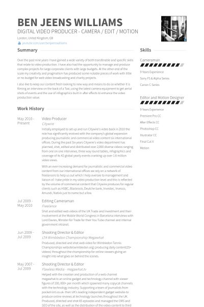 video producer Resume Example WORK Pinterest - video producer resume
