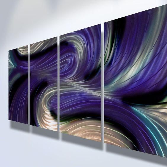Metal Wall Art Decor Abstract Contemporary Modern Sculpture Hanging Zen Textured - Echo Purple. $110.00, via Etsy.