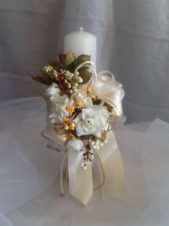 Velas para bautizo y comunion centros de mesa pinterest for Decoracion de velas para bautizo