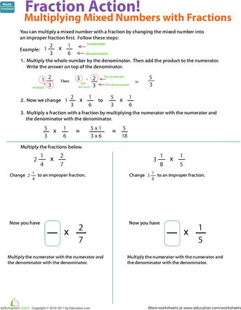 Worksheets Multiplying Of Whole Number By A Mixed Number multiply mixed numbers with fractions worksheets and action