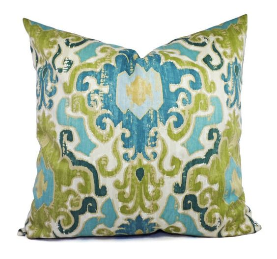 Two Pillow Covers Blue Green Ikat  16 x 16 by CastawayCoveDecor, $28.00
