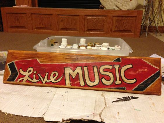 Made this sign for my 13 year old son's room! He loves music and has a piano in his room.