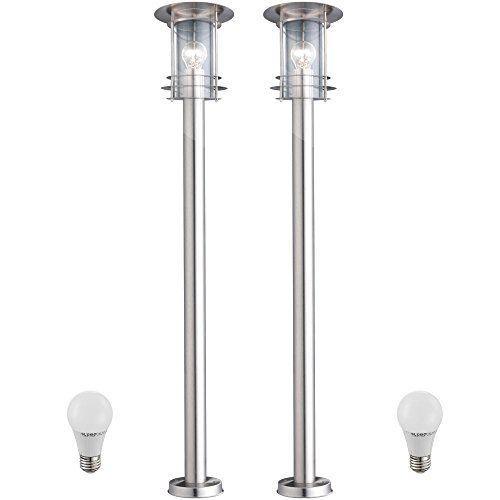2 X Lampadaire Del 7 Watts Luminaire Sur Pied Lampe Led Espace Exterieur Inox Ip44 Jardin Terrasse Lampe Led Luminaire Plafonnier