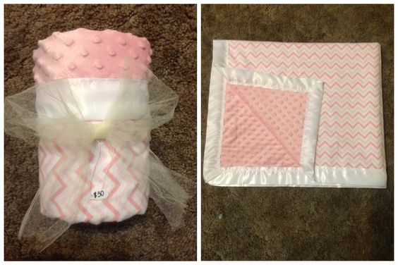 Baby blanket, pink chevron and minky!