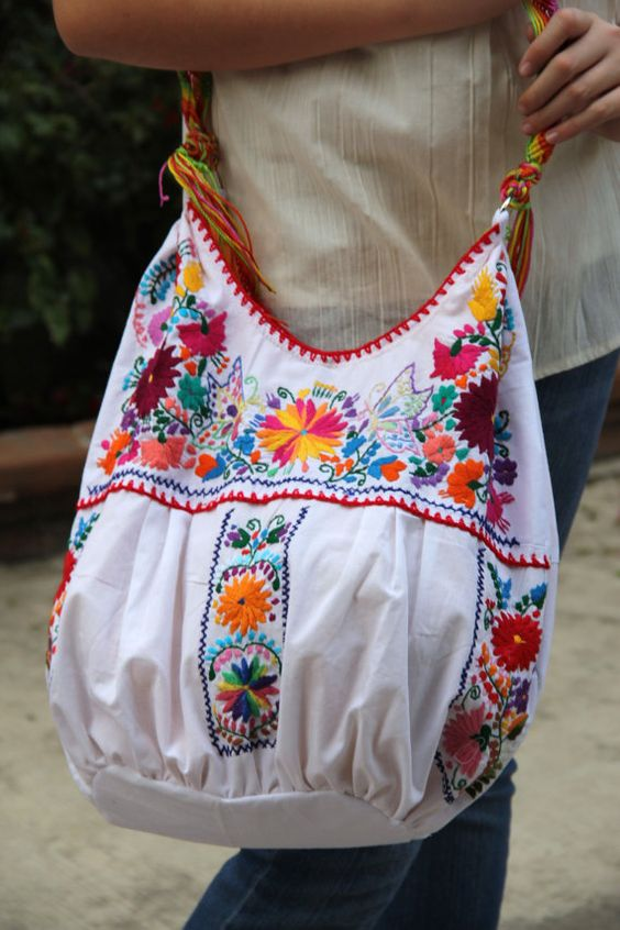 White and multi colored hand embroidered huipil boho by