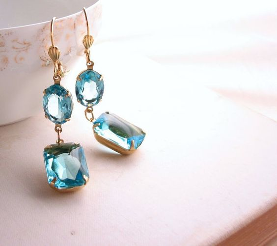 Aquamarine earrings with vintage rhinestones by shadowjewels, $16.00