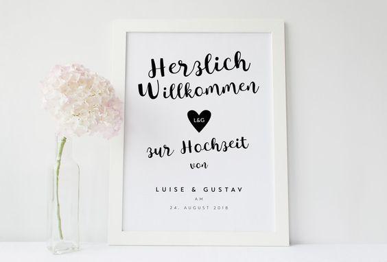 """Hochzeitsdeko - Willkommen-Poster zur Hochzeit """"Monochrom"""" Druck - ein Designerstück von Design-Grusskarten bei DaWanda"""