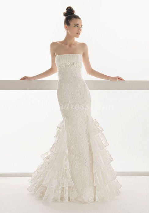 trumpet long beaded lace strapless tiers wedding dress - Wegodress.com