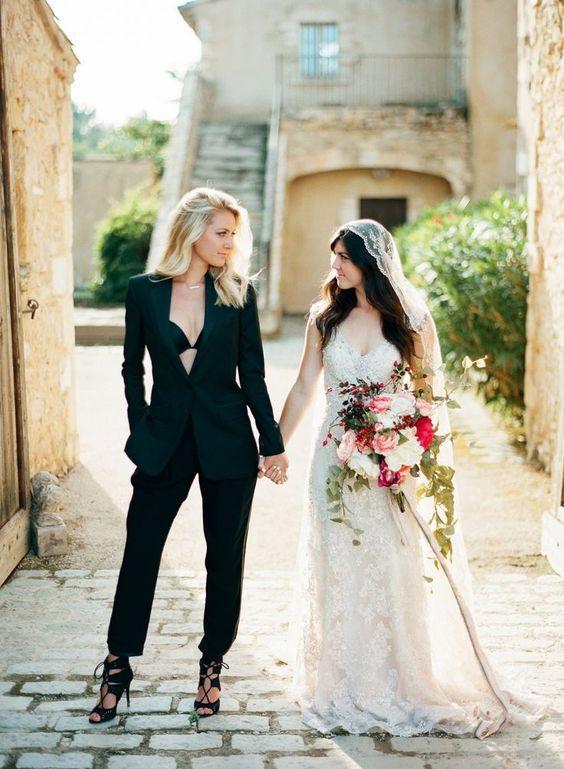Black Wedding Pantsuit For Bride