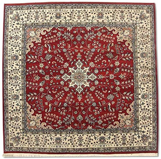 Traditional Persian Handmade Kashan Square Rug Wool Burgundy Red 7 X 6 10 Quot Ft In 2020 Square Rugs Burgundy Red Rugs