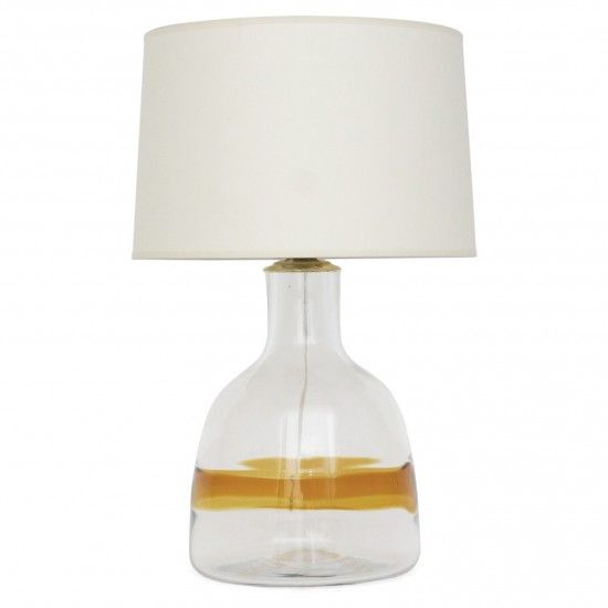 Large Glass Table Lamp With Yellow Stripe Table Lamp Hand Blown