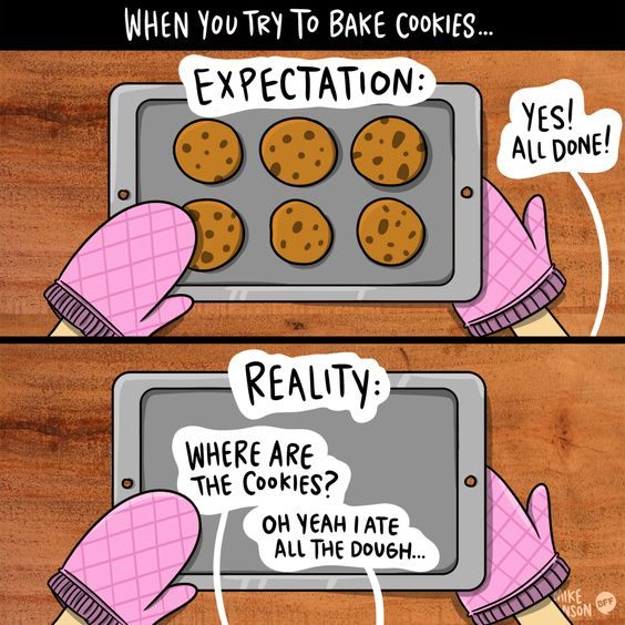 An accurate description of making cookies.
