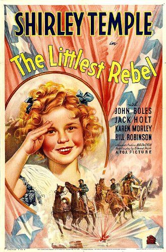 """Directed by David Butler.  With Shirley Temple, John Boles, Jack Holt, Karen Morley. Shirley Temple's father, a rebel officer, sneaks back to his rundown plantation to see his family and is arrested. A Yankee takes pity and sets up an escape. Everyone is captured and the officers are to be executed. Shirley and """"Bojangles"""" Robinson beg President Lincoln to intercede."""