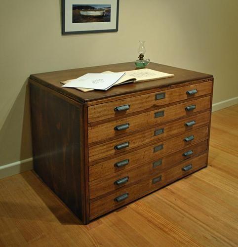 Antique Vintage Industrial Hardwood Frame MAP Drawers Plan Press File ...