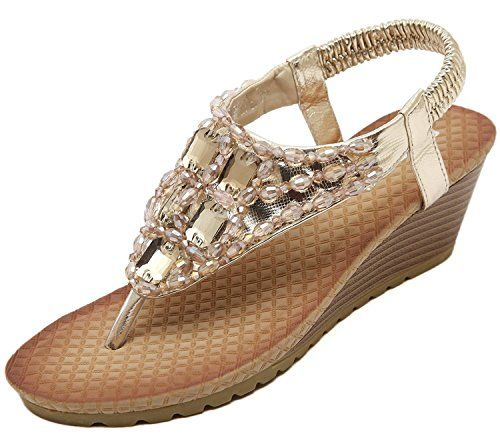 ShoeN Tale Women Gold Ankle Strap Thong Gladiator Flat Sandals