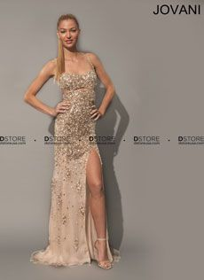 Spaghetti Straps Beaded Tulle Gown with Cutouts Placida 79024 : DSTORE USA, Miami Premiere Eveningwear Boutique