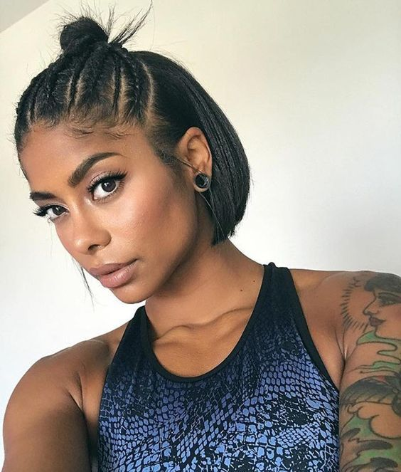 30 Popular Hairstyles for Black Women | Cropped Bob with Cornrows | Hairstyle on Point